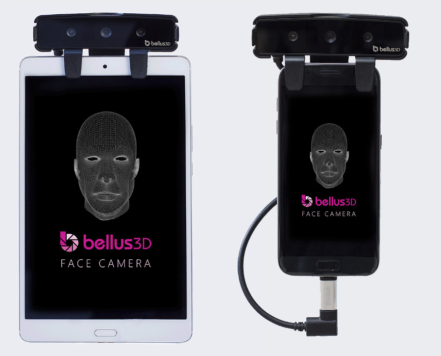 Bellus3D Face Camera Pro connected to tablet and Bellus3D Face Camera Pro connected to phone